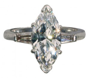The top offering in the jewelry category will be this marquise cut diamond and platinum ring. The marquise brilliant cut diamond weighs 3.05 carats and the ring is estimated to achieve $25,000 to $45,000. Clars Auction Gallery image