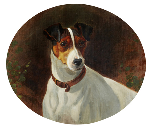 Trimmer was the first fox terrier to win a prize at any British dog show. The oil by George Earl sold for hammer $8,125 (£5,293). Photo Bonhams