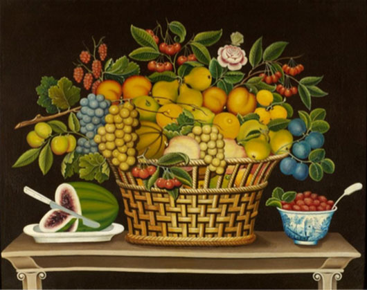 Unidentified artist. Still Life with Basket of Fruit, 1830–50. Oil on canvas. 29 3⁄4 x 36 in. Courtesy of the Barbara L. Gordon Collection.