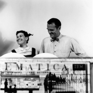 Ray and Charles Eames with the final model of 'Mathematica: A World of Numbers … and Beyond,' 1961. Image courtesy of the Eames Office