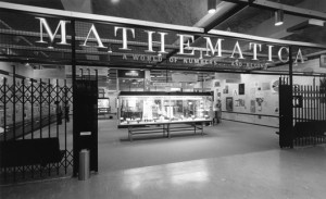 Entrance to the 'Mathematica' exhibition in Los Angeles, 1961. Image courtesy of the Eames Office
