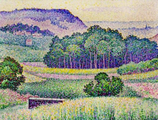 Early 1905 pointillist landscape painting by Jean Metzinger (German/French, 1883-1956), one of two Metzinger works in the sale. Price realized: $177,500. A.B. Levy's image