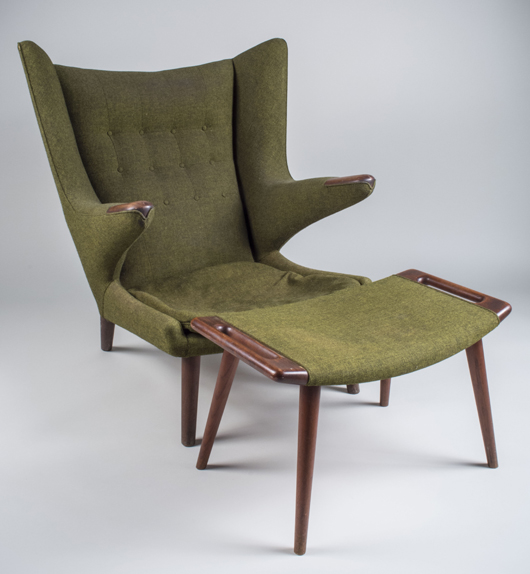 Hans Wegner Papa Bear Chair And Ottoman In Original Green Wool Upholstery.  Price Realized: $9,000. Capo Auction Fine Art And Antiques Image