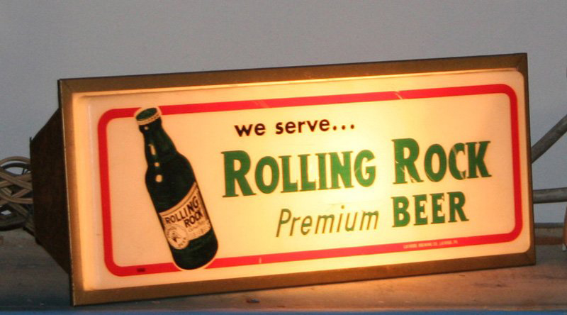 Lighted Rolling Rock beer sign. Image courtesy of LiveAuctioneers.com and Richard Opfer Auctioneering