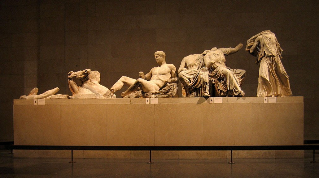 The left-hand group of surviving figures from the East Pediment of the Parthenon, exhibited as part of the Elgin Marbles in the British Museum. Copyrighted photo by Andrew Dunn (http://www.andrewdunnphoto.com) taken Dec. 3, 2005. Licensed under the Creative Commons Attribution-Share Alike 2.0 Generic license.