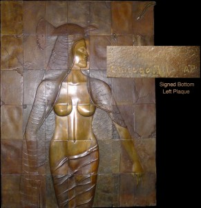 Bronze depiction of an Egyptian princess cast in 42 plaques, overall 52 inches tall by 39 inches wide, signed 'Chicago, Ill., AP.' Historical Estates Auctions image