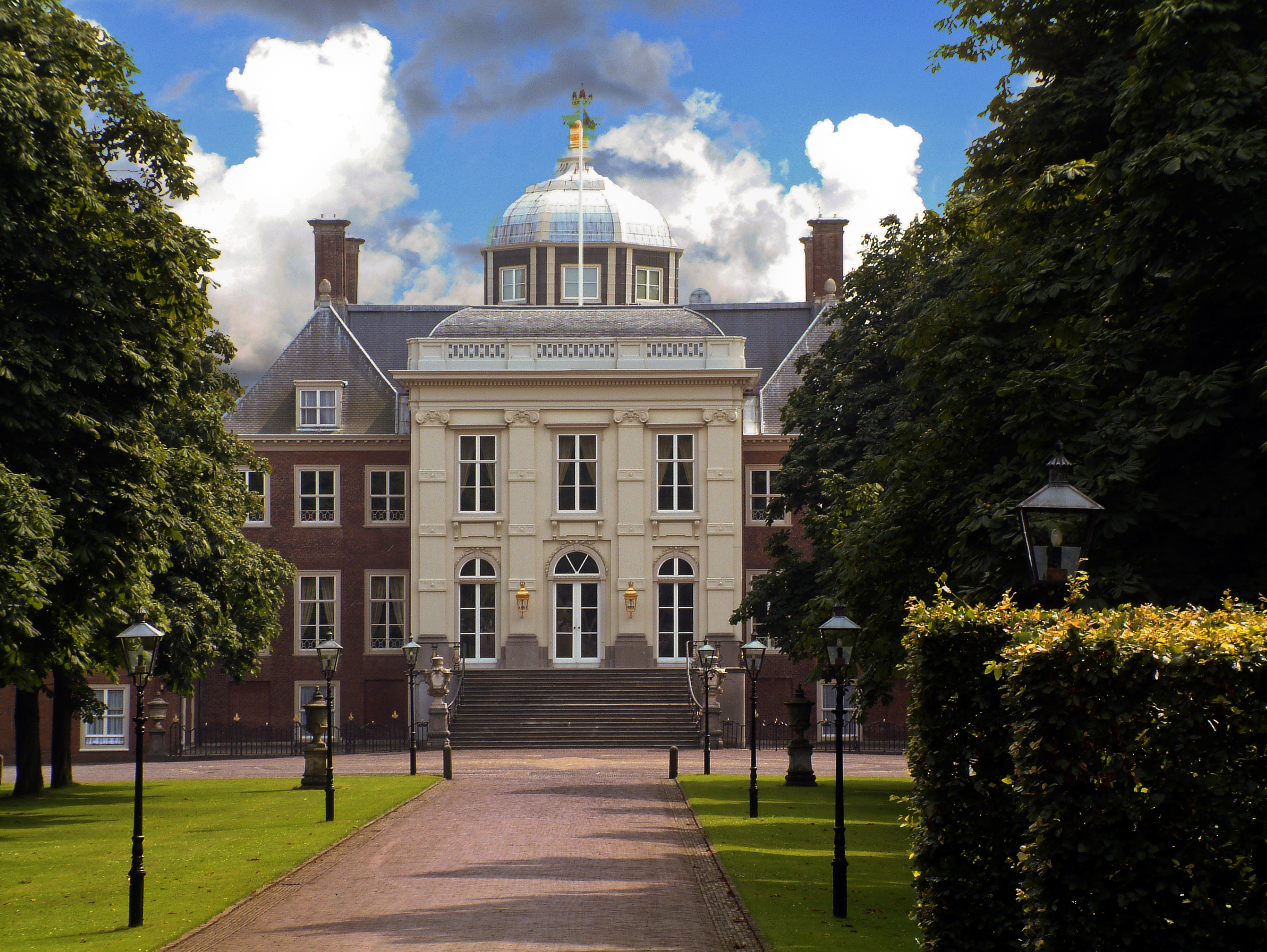 Huis ten Bosch (House in the Woods), the subject of Joris van der Haagen's painting, is a royal palace in The Hague. It is one of three official residences of the Dutch royal family. Image by PeteBobb. This file is licensed under the Creative Commons Attribution-Share Alike 3.0 Netherlands license.