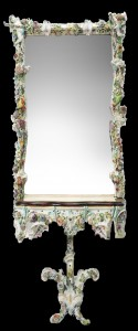 Gorgeous circa 19th century Meissen mirror and console, impressive at 7 feet 3 inches tall. Historical Estates Auctions image