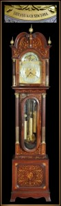 Handsome early 20th century Tiffany marquetry inlaid grandfather clock, 8 feet 7 inches tall. Historical Estates Auctions image