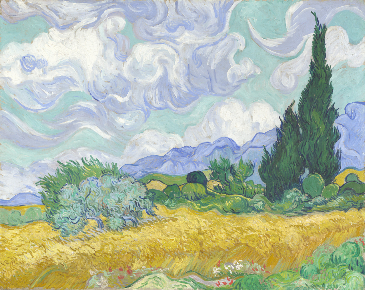 'A Wheat Field, With Cypresses' (1889) by Vincent van Gogh will be in 'Van Gogh and Nature,' at the Clark Art Institute in June. Credit: National Gallery, London 2014
