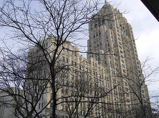 Detroit's 1928 Fisher Building with its 28-story tower was designed by architect Joseph Nathaniel French of Albert Kahn Associates. Image by Mikerussell at en.wikipedia.