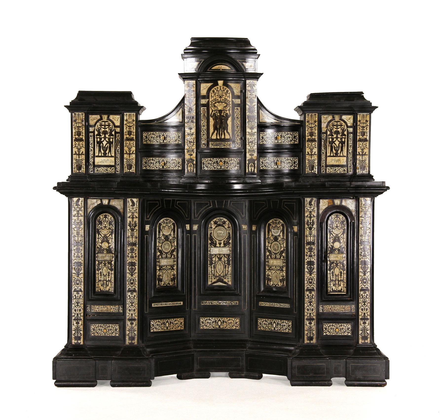 Italian Renaissance Revival Ebonized Cabinet, 18th/19th Century. Kaminski  Auctions Image