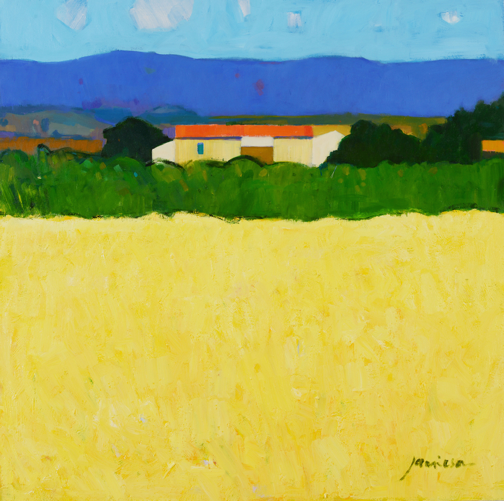 Charles Jamieson, 'Yellow Field,' oil on board, to be included in the Jerram Gallery's group show of landscapes and still lifes in Sherborne, Dorset. Image courtesy of Jerram Gallery.