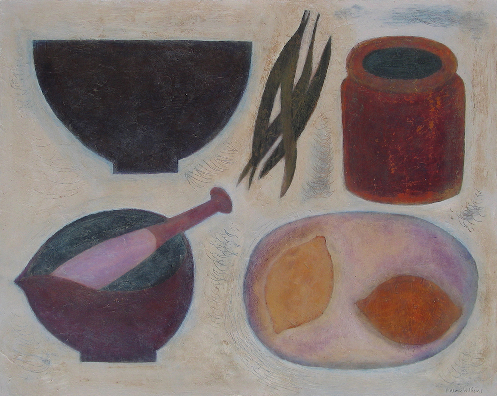 Vivienne Williams, 'Kitchen Still Life with Lemons and Beans,' mixed media, at the Jerram Gallery's group exhibition in Sherborne, Dorset. Image courtesy of Jerram Gallery.