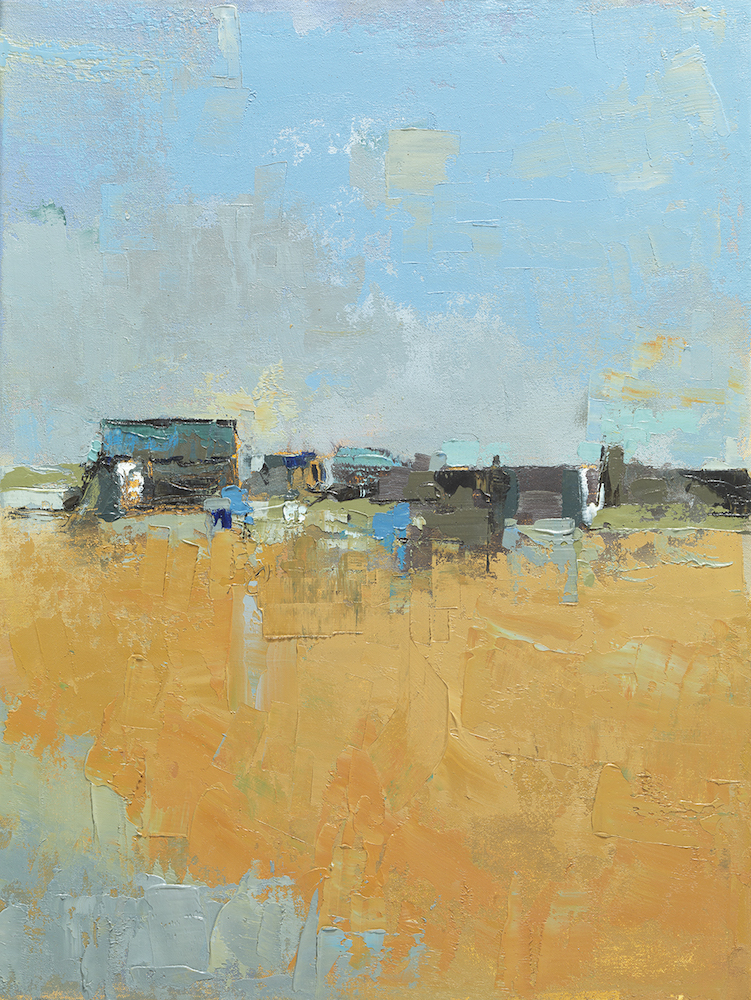 Elsa Taylor, 'Fishing Huts II,' oil on board, included in the Jerram Gallery's group exhibition in Sherborne, Dorset. Image courtesy of Jerram Gallery.