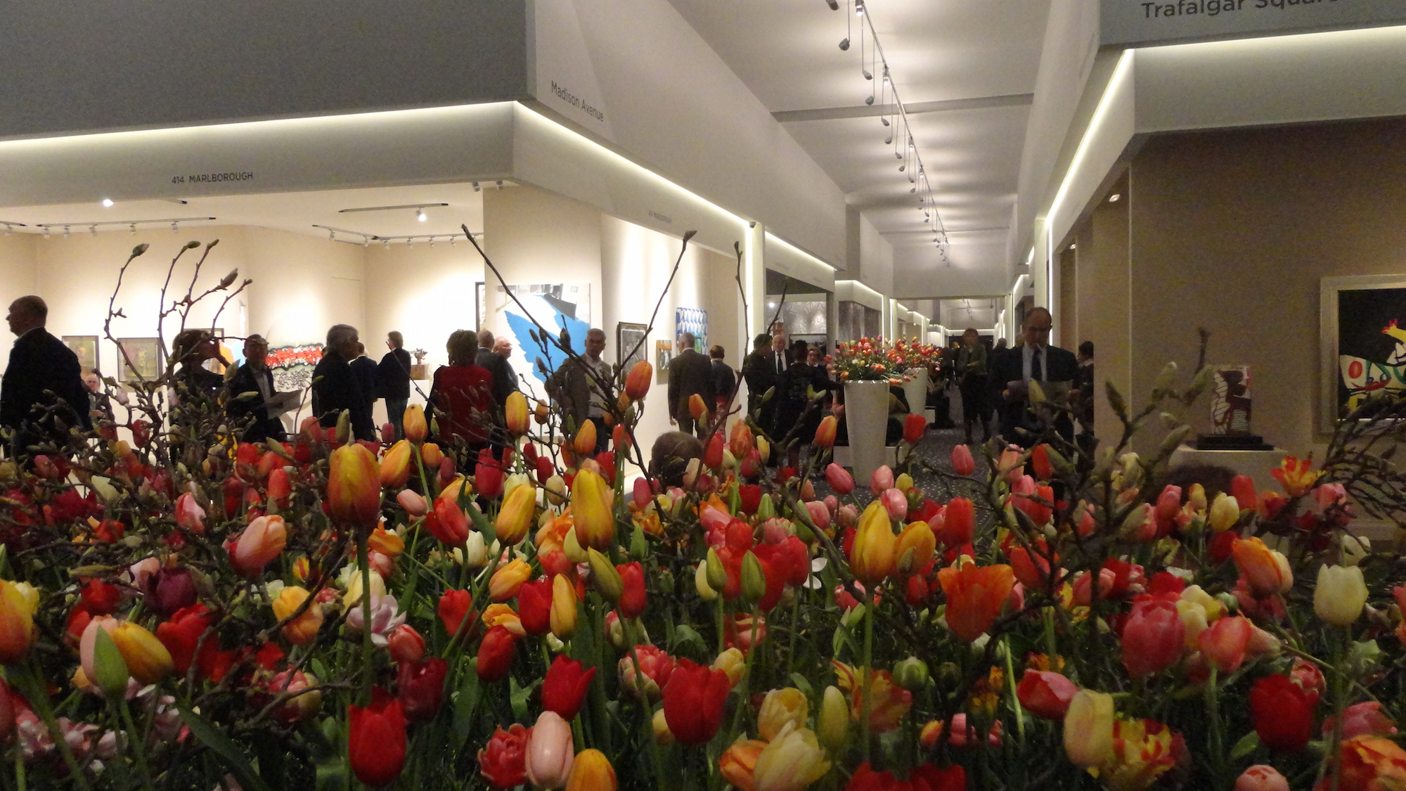The art market blossoms: The aisles of the European Fine Art Fair in Maastricht were once again blooming with traditional tulips at this year's event. Image Auction Central News.