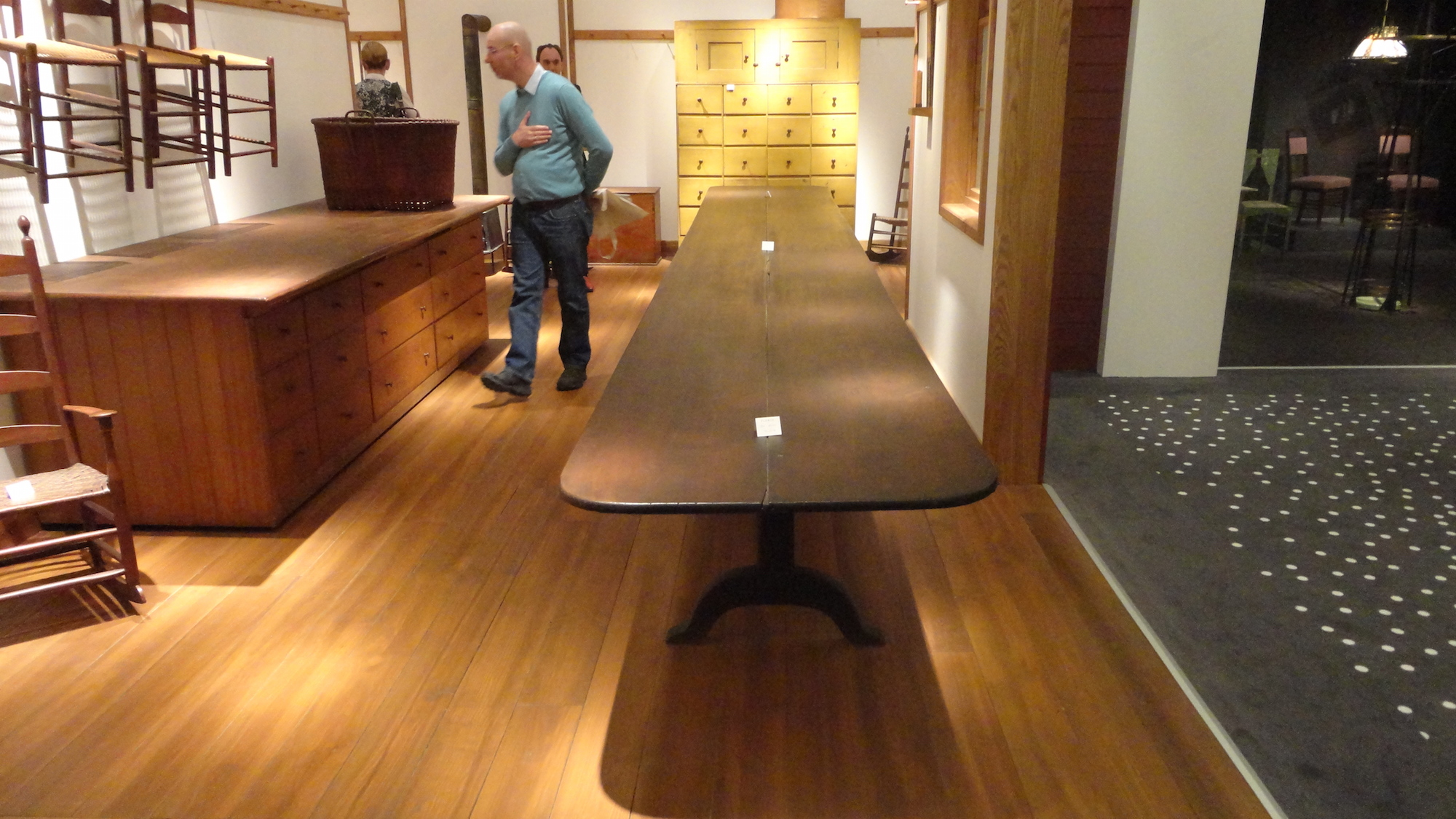 A shaker birch trestle table, Massachusetts, circa 1840, on the stand of François Laffanour's Galerie Downtown at the European Fine Art Fair in Maastricht in March, where it was priced at 250,000-300,000 euros ($270,000-$323,000). Image Auction Central News.