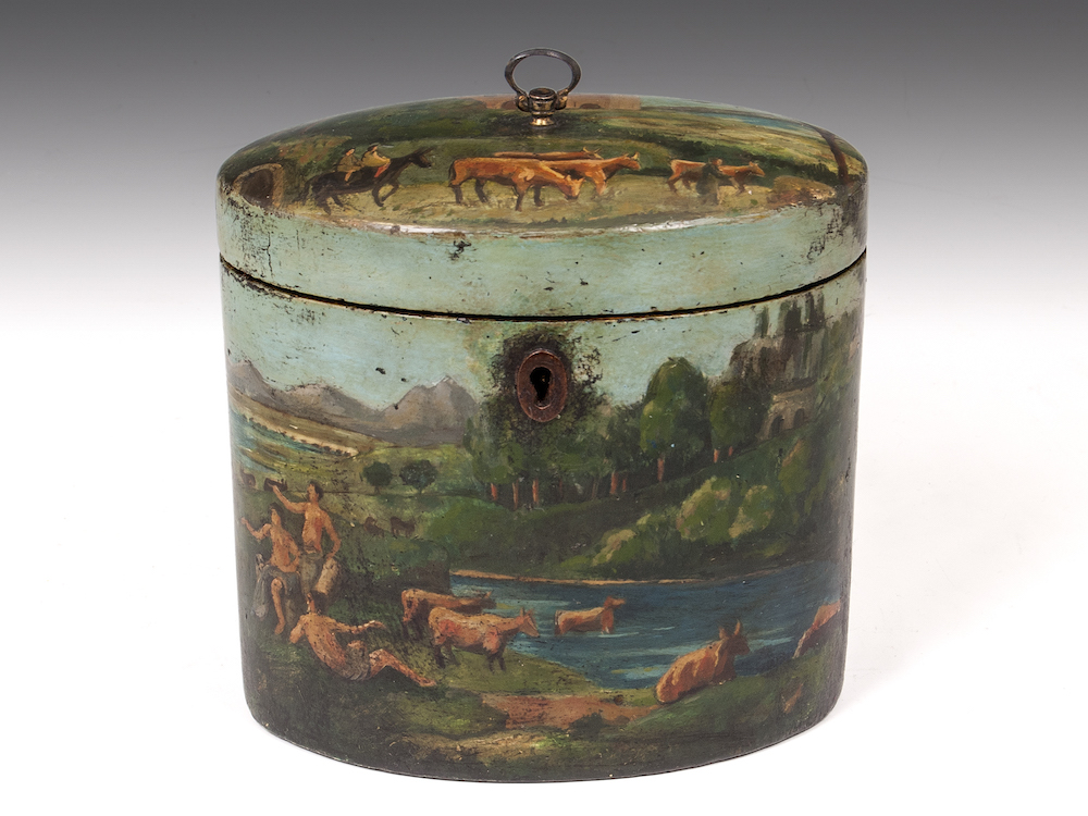 This charming painted papier-mâché tea caddy is priced at 5,500 pounds ($8,150) with Hamptons Antiques at the Cotswolds Art and Antiques Dealers' Fair at Blenheim Palace.  Image courtesy of Cotswolds Art and Antiques Dealers' Fair.