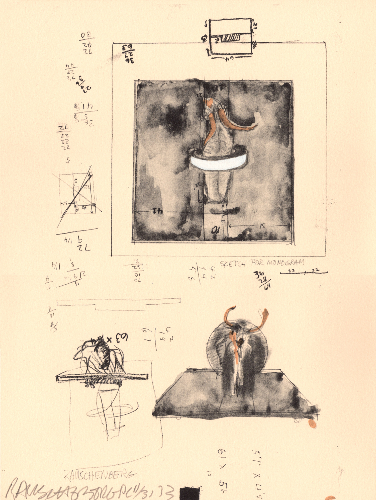 Sketch for 'Monogram' by Robert Rauschenberg. A&D Gallery image
