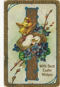 'With Best Easter Wishes' embossed postally used postcard, postmarked March 26, 1910, (city name obscured), Ohio.