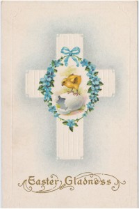 The symbolism on this 'Easter Gladness' card clearly depicts rebirth and renewal. It was published by Stetcher Lithographic Co. of Rochester, N.Y., and is marked 'Made in USA' and 'Series 24 D.' Karen Knapstein image, courtesy of Antique Trader
