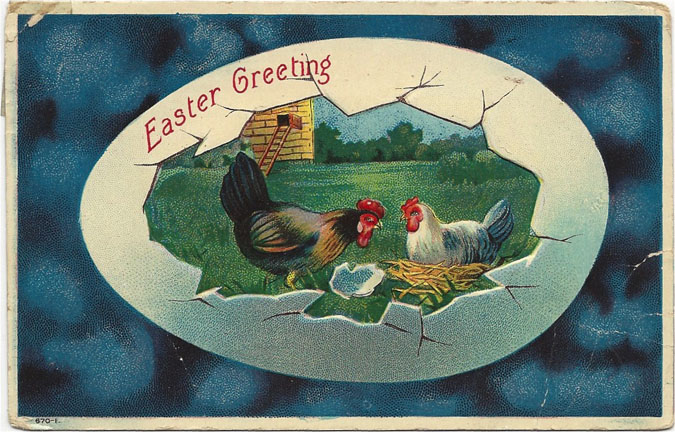 Bold colors and the eggshell border make this farmyard vignette stand apart from the other Easter postcard greetings. It's postmarked April 18, 1911, Minneapolis, Minn. Karen Knapstein image, courtesy of Antique Trader