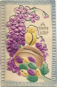 This heavily embossed card, made in Germany, is covered with forget-me-nots and a chick perched atop an overturned basket spilling out colored eggs.