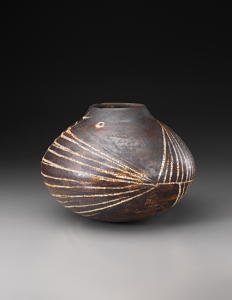 Coper's rare early works were at times decorated with simple abstract designs. Created not long after he began making pottery, this 1953 globular stoneware pot covered with dark manganese glaze brought $197,000 (est. $30,000-$40,000) in the sale of the Stern Collection. Phillips image