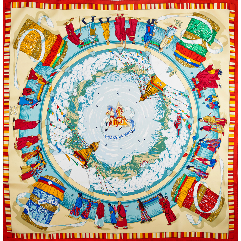 One of the most colorful items in Thursday's jewelry, watches and couture session is this Hermes 'Prieves du Vent' silk scarf. Estimate: $200-$400. Rago Arts and Auction images.