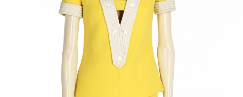 André Courrèges (French, b. 1923) designed this wool tunic and hot pants, late 1960s or early 1970s. Indianapolis Museum of Art, Fashion Arts Society Acquisition Fund, 2013.62A-B © André Courrèges