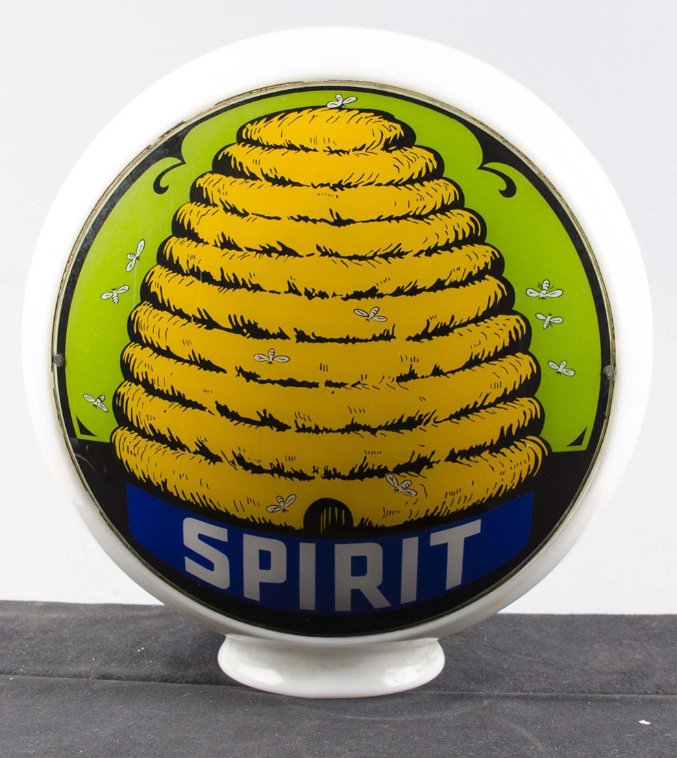 Extremely rare Spirit gas globe with beehive graphics, condition 9.5. Estimate $10,000-$15,000. Morphy Auctions image