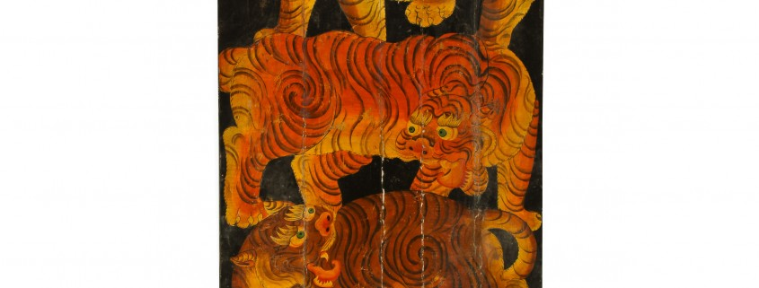 Old Tibetan painted tiger door paint on canvas applied to wood 70 1/  sc 1 st  LiveAuctioneers & Material Culture auction rolls out Oriental rugs textiles April 26