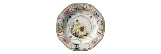 This porcelain soup plate, decorated with the arms of Ker with Martin in pretence, was made in China around 1780-90. Part of the gift of Leo A. and Doris C. Hodroff to Winterthur. Image courtesy of Winterthur