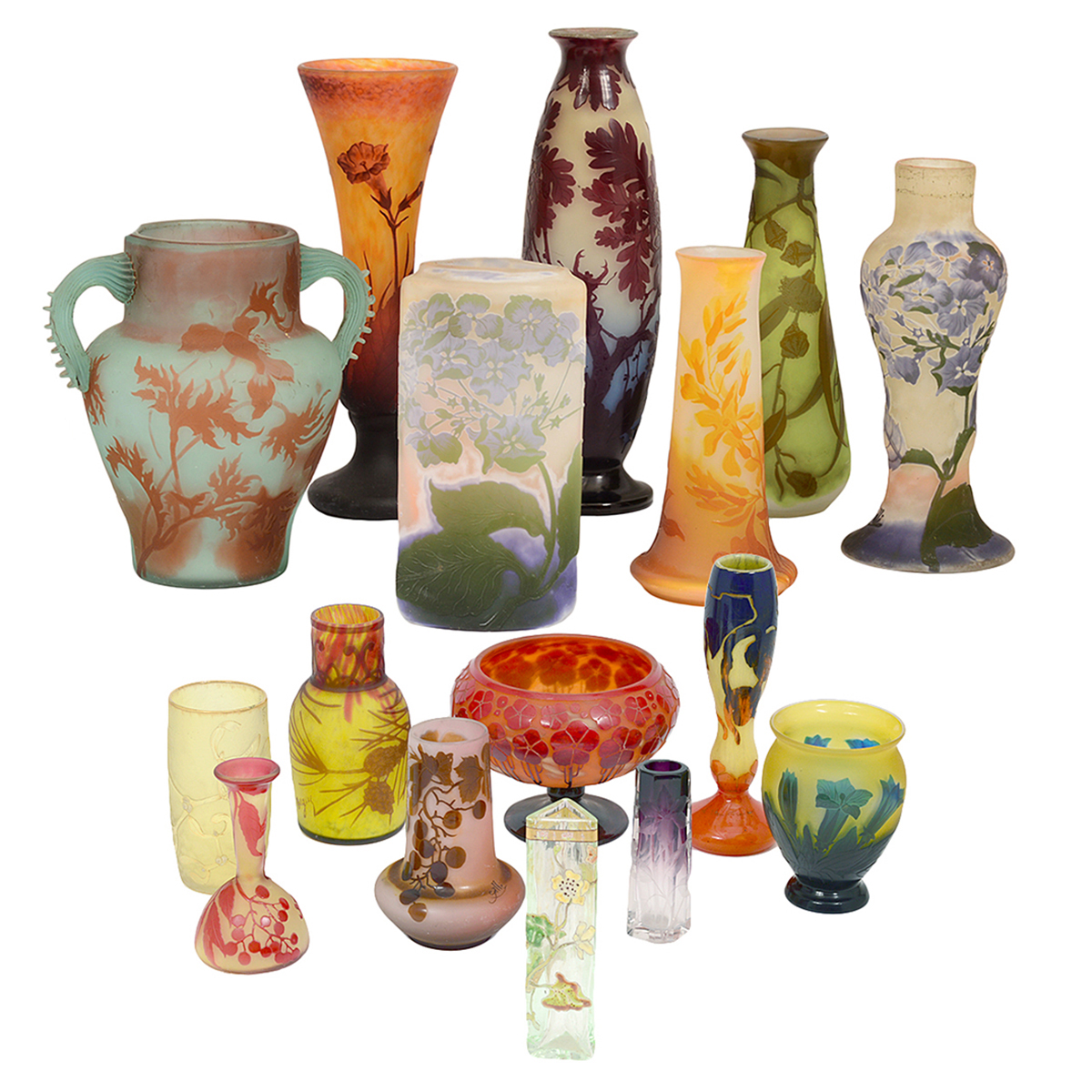 Examples from collection of French cameo and other Art Deco glass to be offered in April 27-28 auction in West Palm Beach, Florida. Auction Gallery of the Palm Beaches image