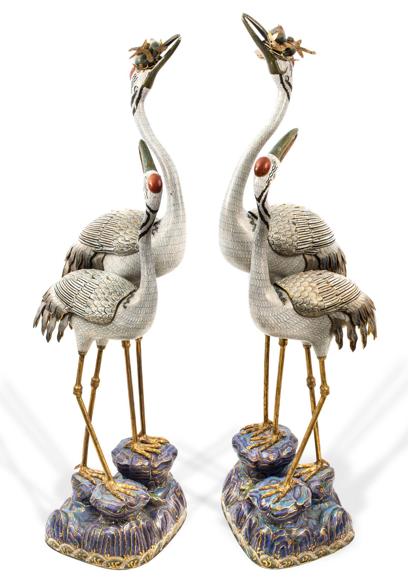 This double pair of cloissone enamel cranes sold for £124,000. Dreweatts & Bloomsbury images