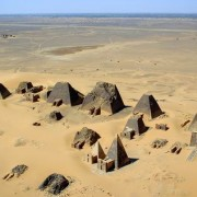 Aerial view of the Nubian pyramids at Meroe in 2001. B.N. Chagny image. This file is licensed under the Creative Commons Attribution-Share Alike 1.0 Generic license.