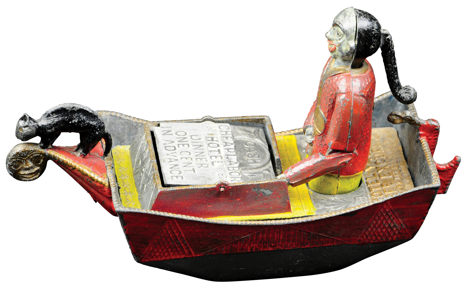 Charles A. Bailey Chinaman in Rowboat mechanical bank made of lead, $96,000. Bertoia Auctions image