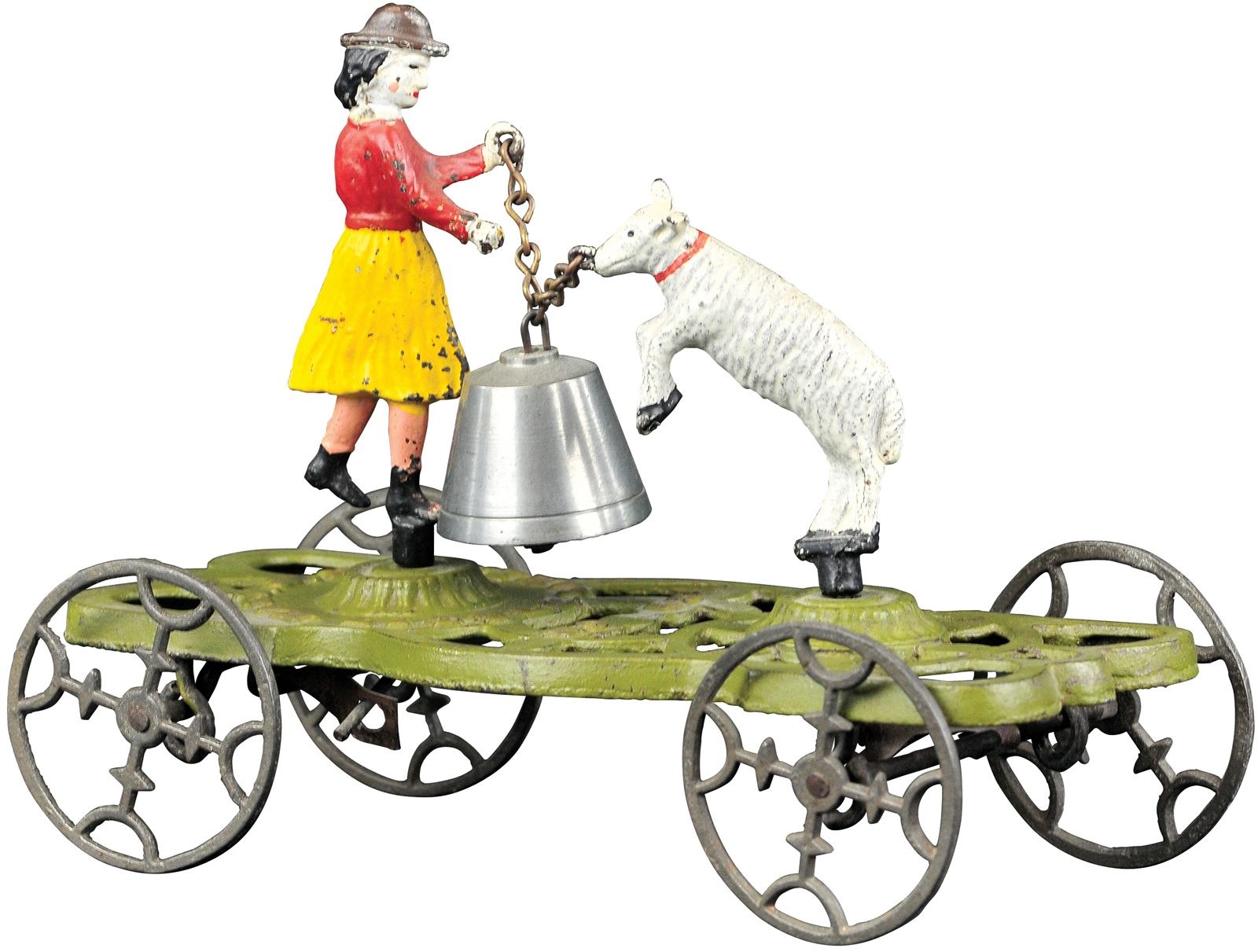 Mary and Her Little Lamb bell toy, Gong Bell Mfg. Co., considered the finest known example, provenance: Covert Hegarty collection, $14,400. Bertoia Auctions image