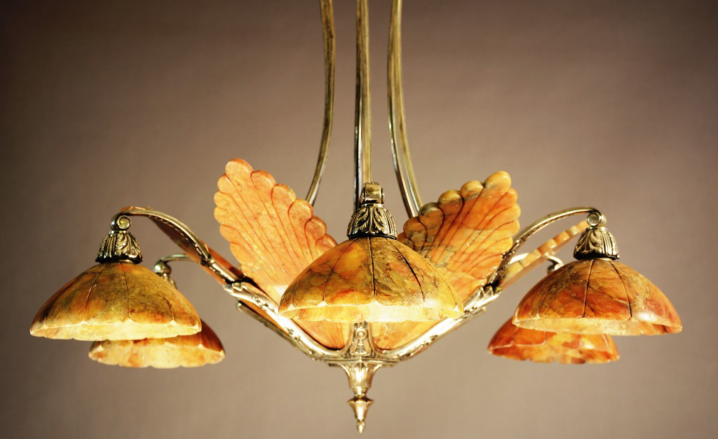 French Art Deco bronze and red alabaster chandelier, circa 1920, 30in x  16in. - Antique Lighting, Architectural Elements Share Spotlight At Bruhns