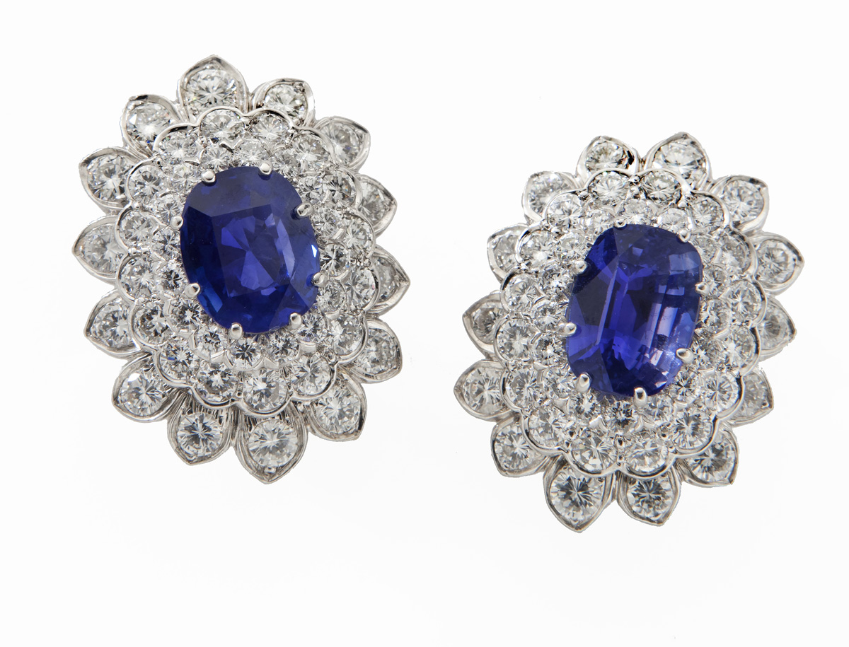 David Webb platinum, sapphire and diamond earrings featuring a pair of natural sapphires of Ceylon (Sri Lanka) origin, 5.71 and 5.44 carats. Estimate: $75,000-$100,000. Dallas Auction Gallery images
