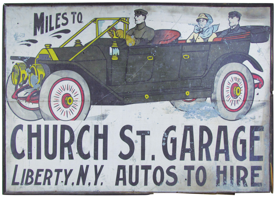 Scarce Ithaca Sign Works (Ithaca, N.Y.) tin sign with Locomobile Touring Car image, 48 inches by 73 inches. Price realized: $10,080. Showtime Auction Services images