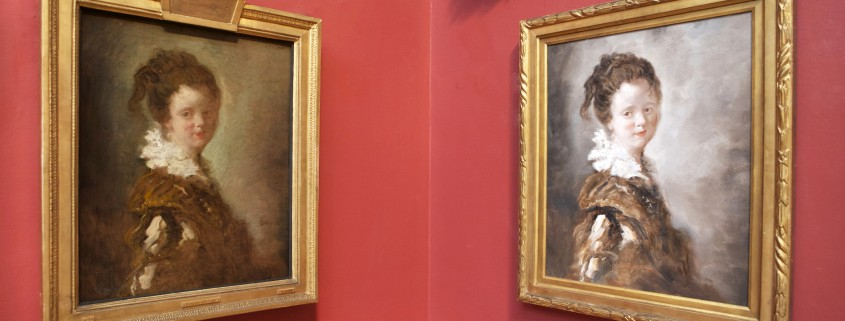 The differences between the authentic Fragonard (left) and the 'Made in China' replica are readily apparent when hung side by side. Dulwich Picture Gallery image
