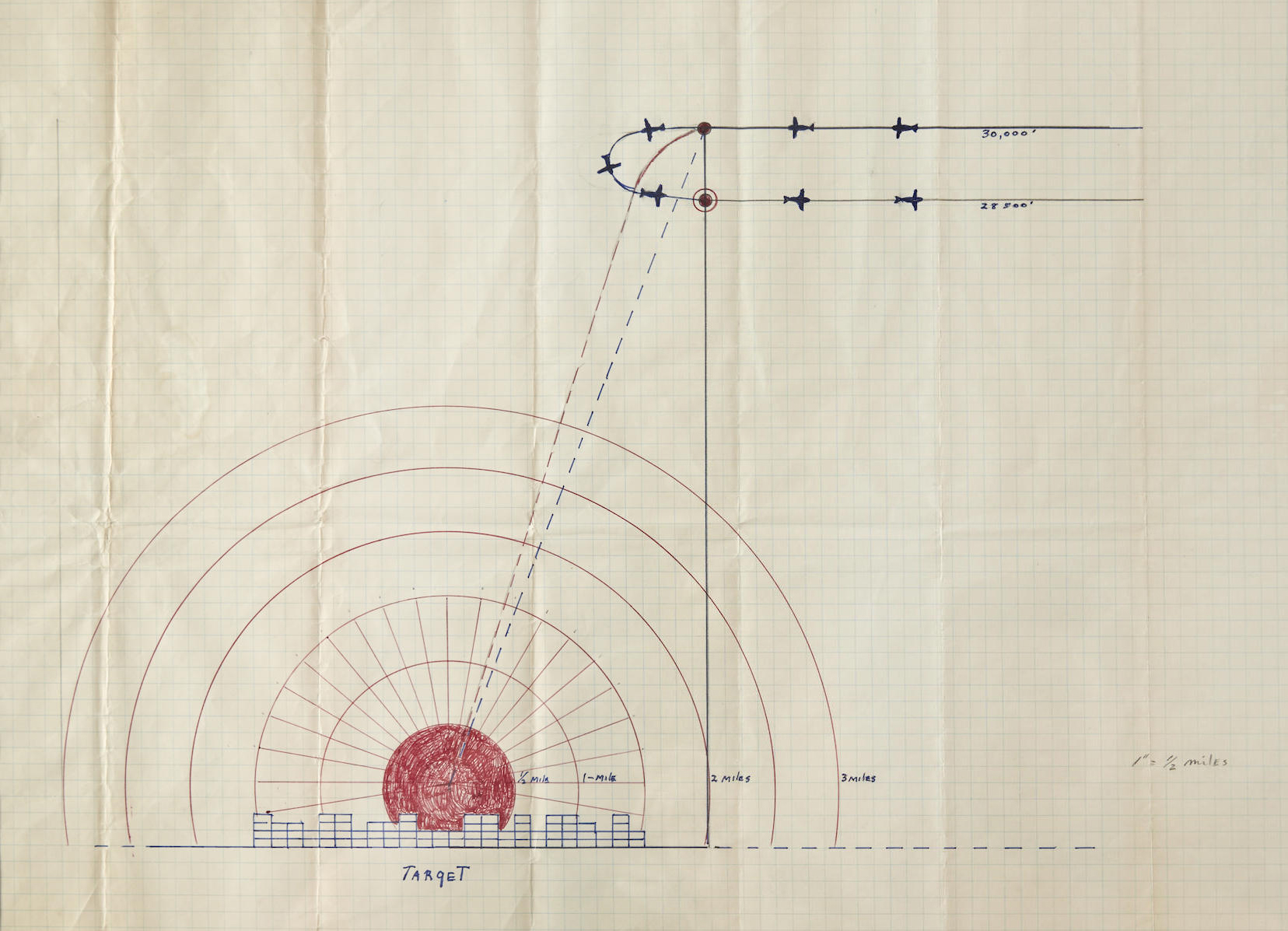 Capt. Robert A. Lewis' manuscript bombing plan for the dropping of the atomic bomb on Hiroshima, (6 August 1945), 16in x 22in. Estimate: $20,000-$30,000. Bonhams image
