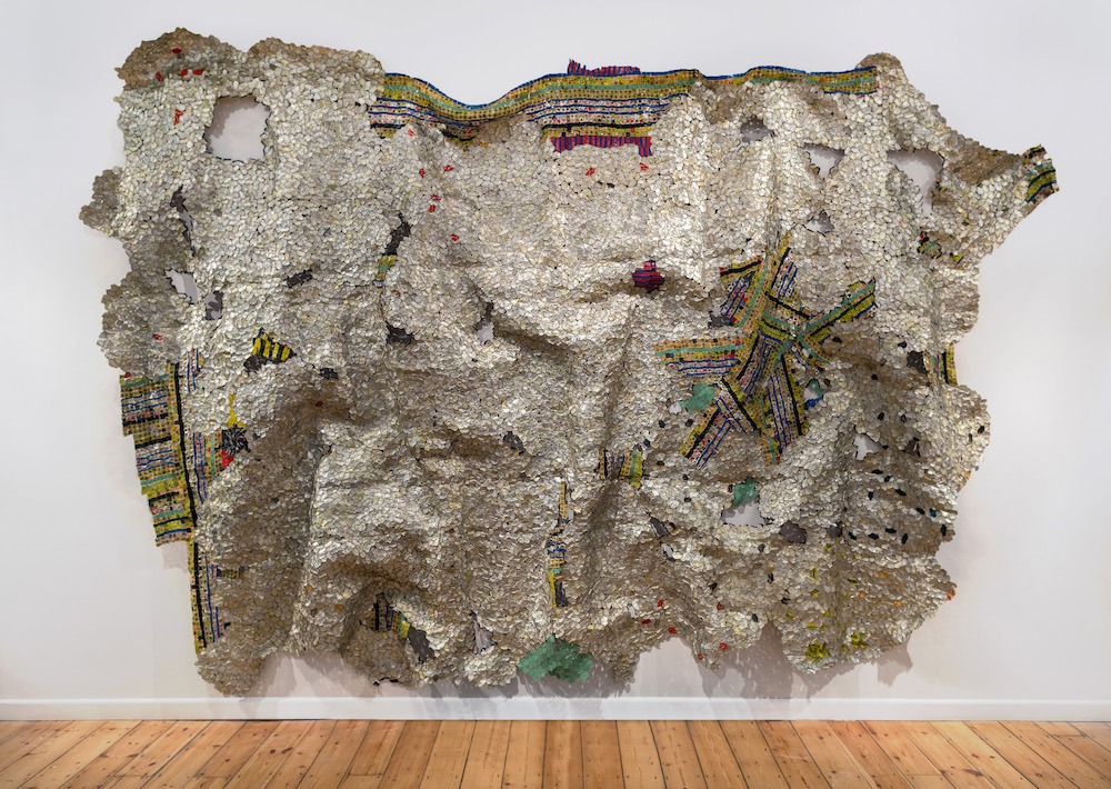 El Anatsui, 'Timespace,' 2014, aluminum and copper wire, 325 x 495 cm. Photo Jonathan Greet, image courtesy October Gallery, London.jpg