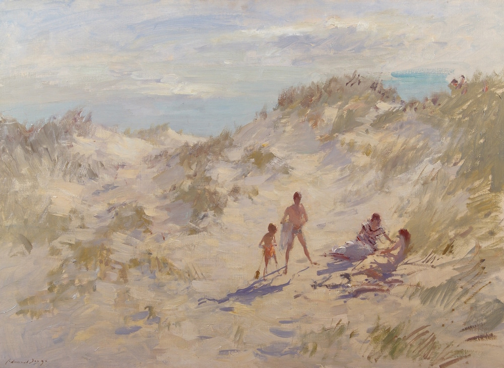 This oil on canvas titled 'On the Dunes' by Edward Brian Seago, is priced at £100,000-£150,000 ($152,000-$228,000) with Haynes Fine Art of Broadway at the new Petworth Park Antiques and Fine Art Fair from 8-10 May. Image courtesy Haynes Fine Art and the Antiques Dealers' Fair Ltd.