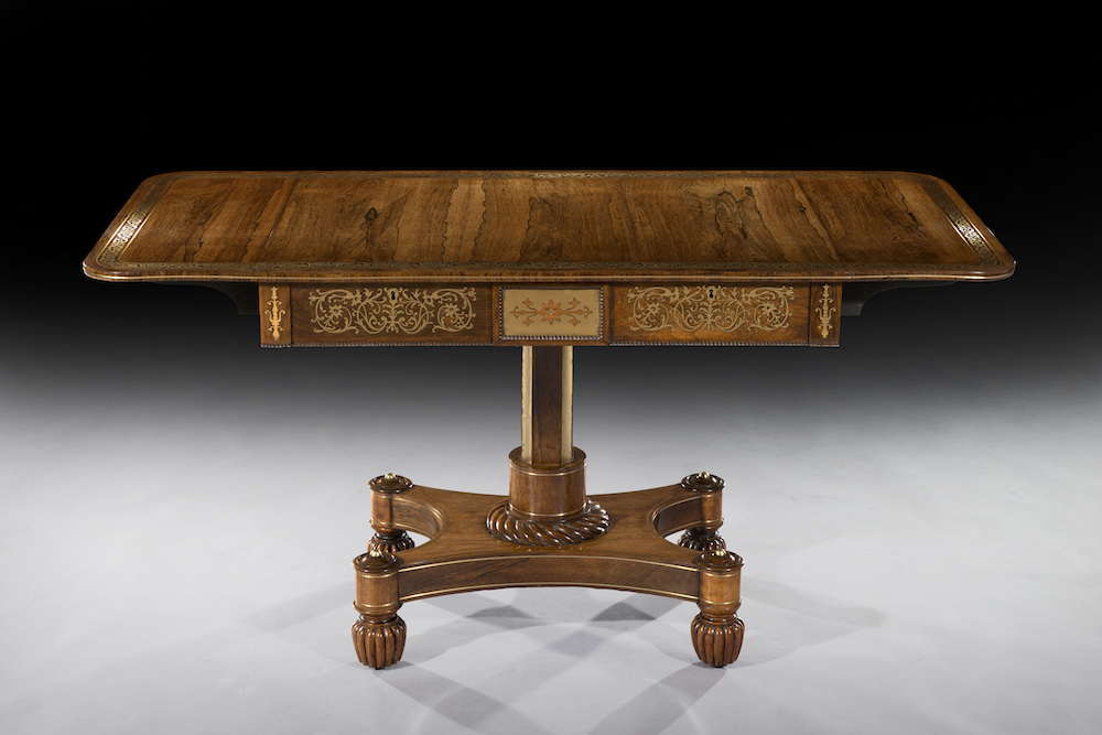 An English Regency brass-inlaid sofa table, circa 1815, priced at £9,500 ($14,450) on display with Freshfords Fine Antiques at the new Petworth Park Antiques and Fine Art Fair from May 8-10. Image courtesy Freshfords Fine Antiques and the Antiques Dealers' Fair Ltd.