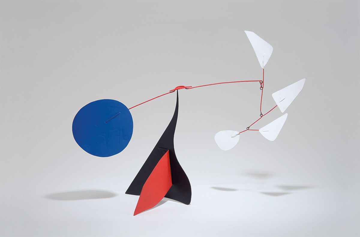 """Alexander Calder, 'Quatre Blancs,' 1976, sheet metal, wire and paint; signed and dated """"CA 76"""" on blue disc, 19.625 x 20 x 12 inches. Provenance: Galerie Maeght, Paris; private collection, Los Altos, California (acquired from the above throughMaeght USA, San Francisco, California, 1978). Exhibited: 'Calder: Mobiles and Stabiles,' Galerie Maeght, Paris, December 1, 1976 - January 8, 1977. Illustrated: 'Calder: Mobiles and Stabiles.' Galerie Maeght: Paris, 1976; #37. Estimate: $500,000–700,000. LAMA image"""