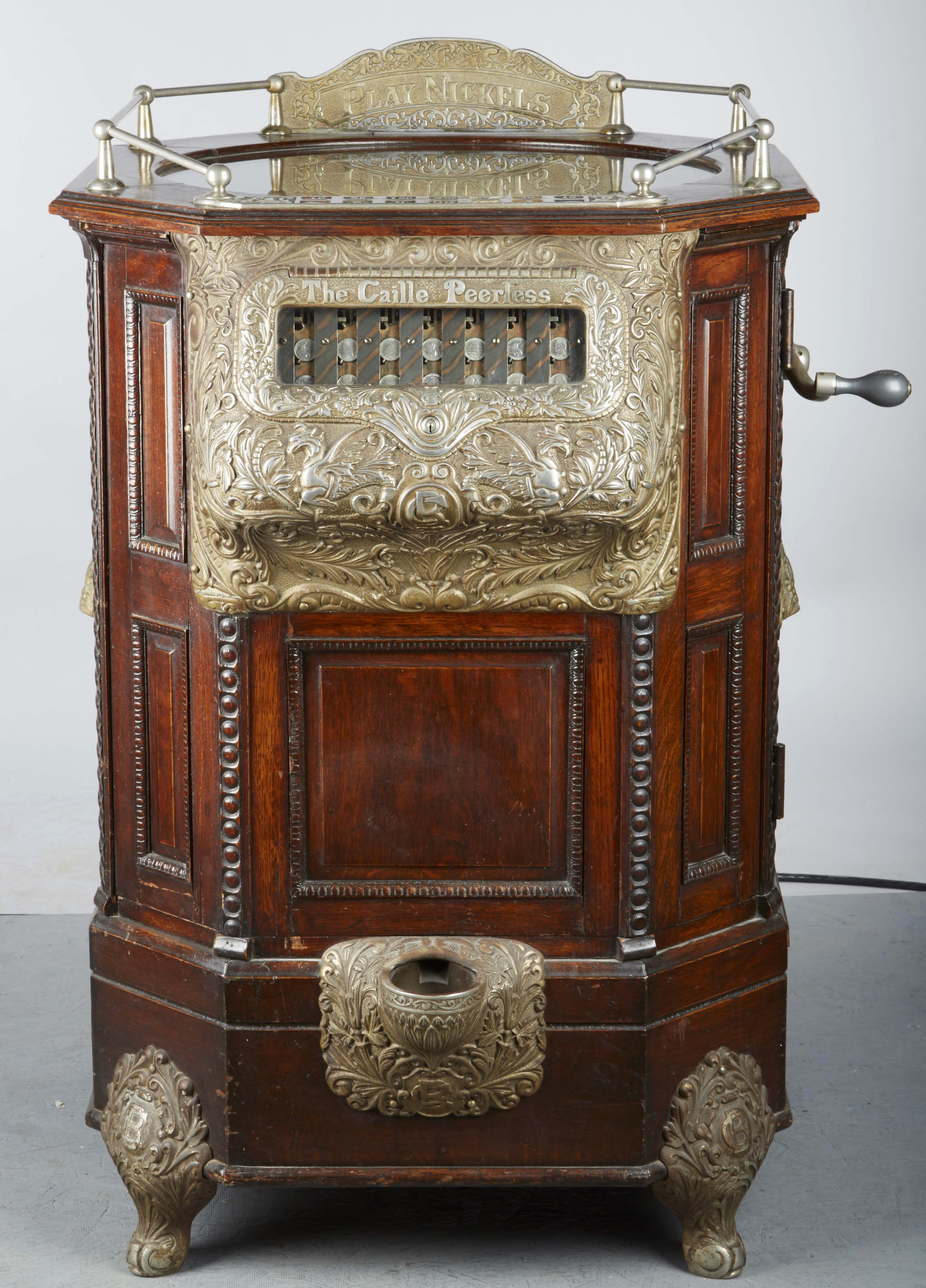 Caille Peerless 5-cent floor roulette slot machine, $300,000, new world record for a slot machine sold at auction. Morphy Auctions image