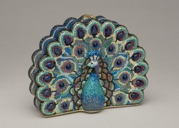 In 2005, the Leibers opened their own museum in Springs, New York, at the tip of Long Island. The galleries display both Gerson's artworks and Judith's accessory designs, such as this 2004 peacock minaudiere. Courtesy the Leiber Collection; photo credit Gary Mamay.