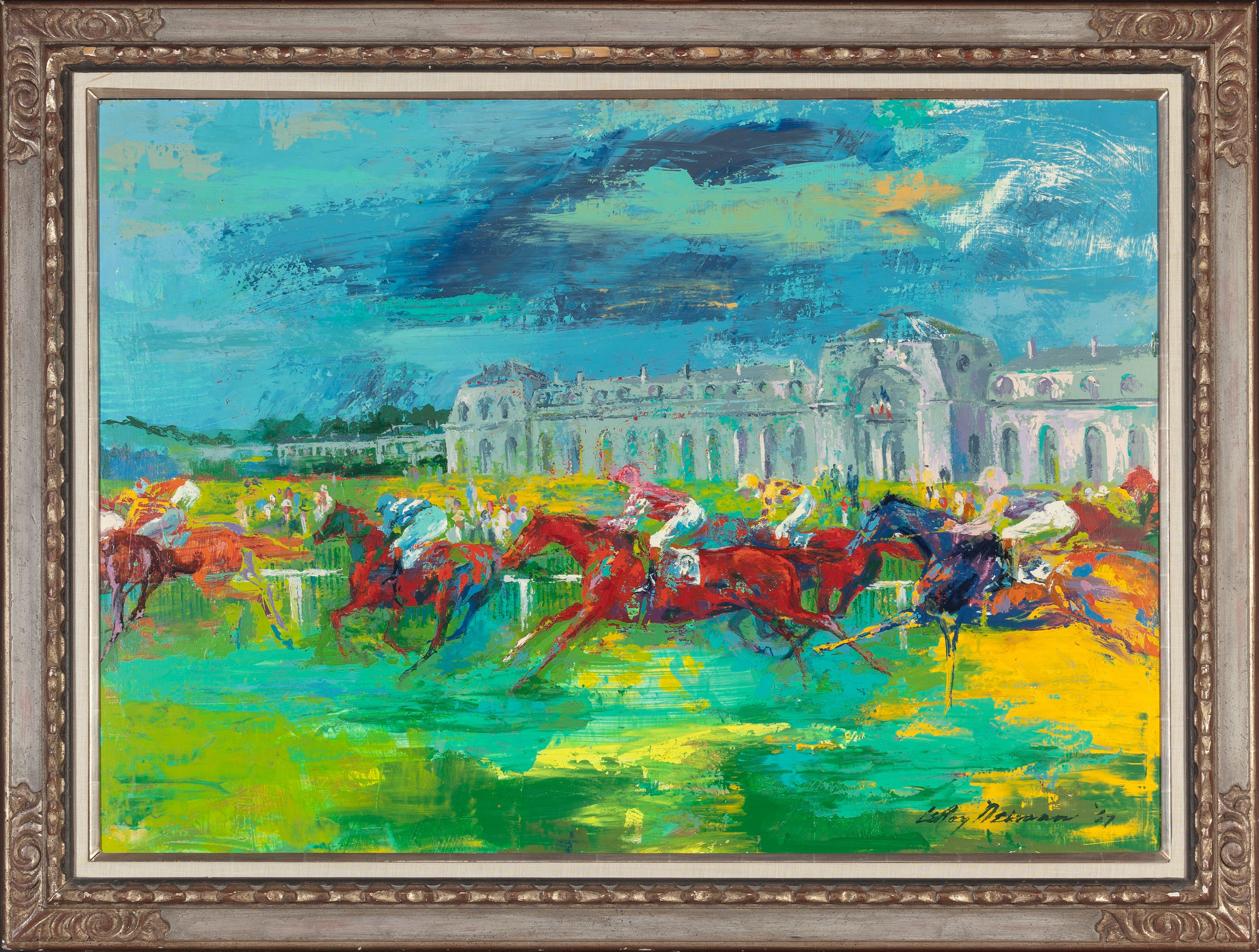 Leroy Neiman, perhaps the most influential sports artist of the 1960s and 1970s, is represented in the auction by his masterful 1967 acrylic on Masonite titled 'Racing,' which is expected to bring more than $50,000. Heritage Auctions images.